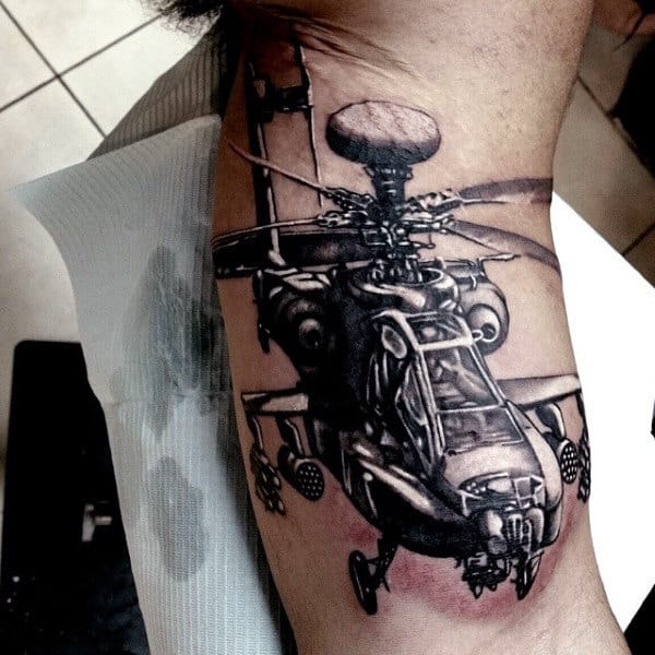 Awesome Apache Helicopter Army Bicep Tattoos For Guys