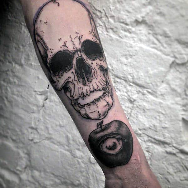 Awesome Apple With Eye Mens Wrist Tattoo