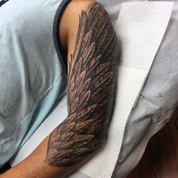 Awesome Arm Feather Mens Tattoo Ideas