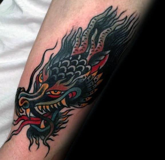 Awesome Arm Guys Dragon Head Tattoo Design