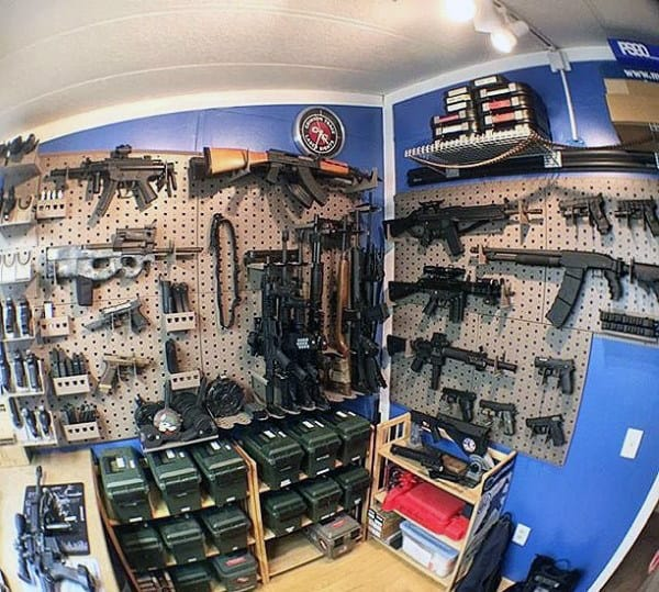 Awesome Arms Cache Gun Room With Blue Walls