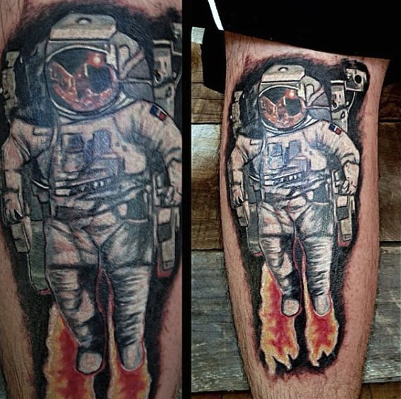 Awesome Astronaut Tattoo On Mens Lower Legs
