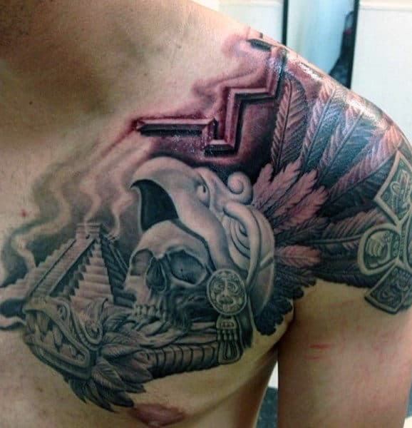Awesome Aztec Warrior With Pyramid Mens Shaded Chest And Shoulder Tattoo