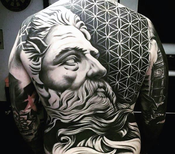 Awesome Back Guys 3d Greek God Statue With Geometric Flower Of Life Pattern Tattoo Ideas