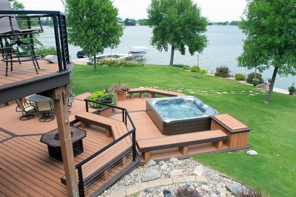 Backyard Hottub top 80 best hot tub deck ideas - relaxing backyard designs