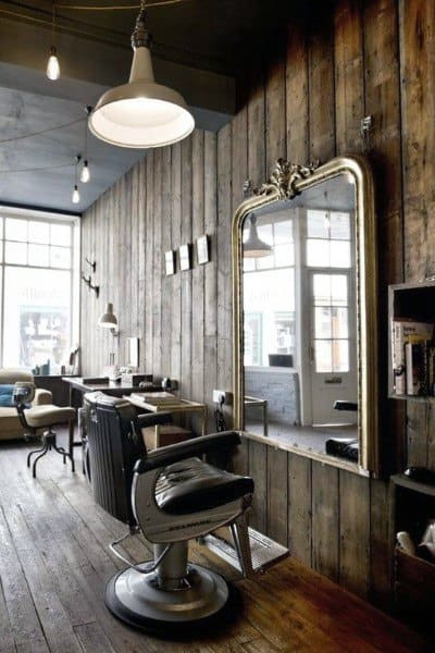Awesome Barber Shop Designs Wood Plank Walls