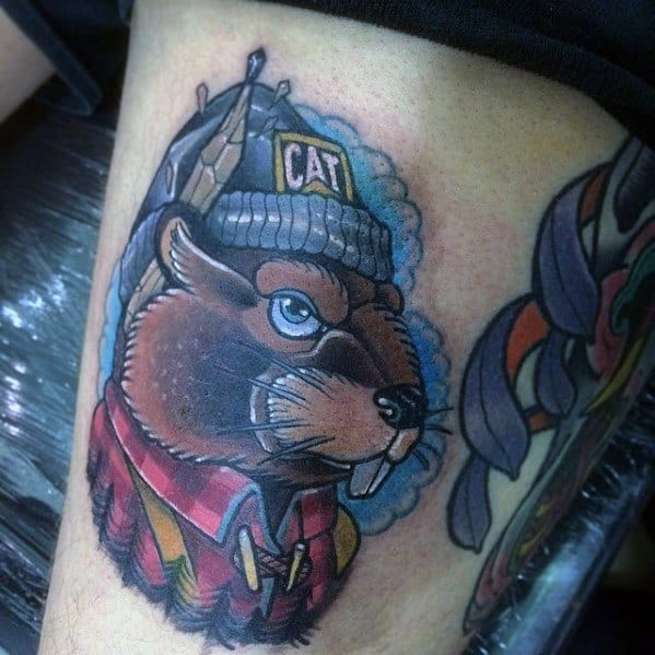 Awesome Beaver Tattoos For Men On Thigh