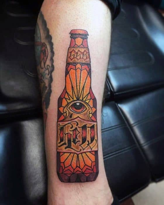 Awesome Beer Bottle Forearm Tattoos For Men