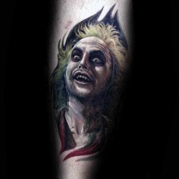 Awesome Beetlejuice Guys Lower Leg Tattoo Ideas