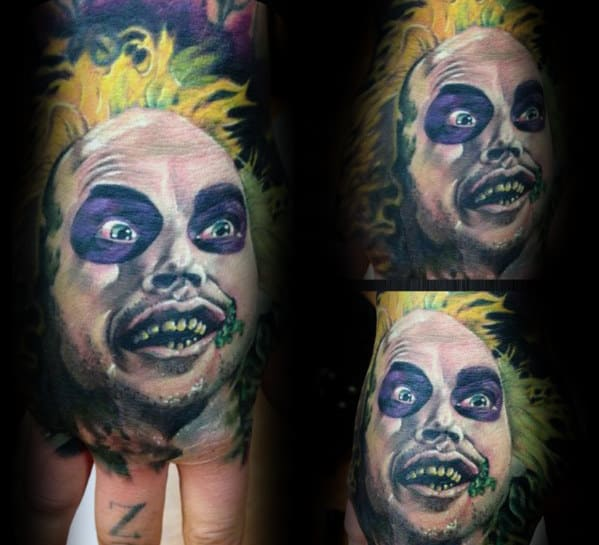 Awesome Beetlejuice Hand Tattoos For Guys