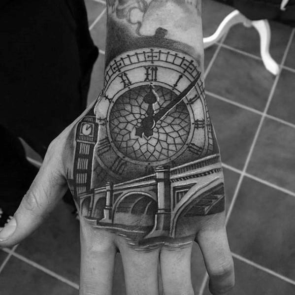 Awesome Big Ben Tattoos For Men On Hand