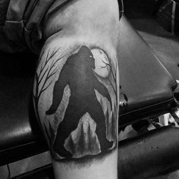Awesome Bigfoot Tattoos For Men On Leg Calf