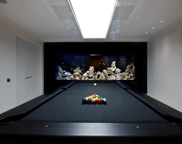 Awesome Billiards Room Ideas With Built In Wall Fish Tank