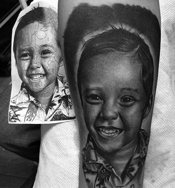 Awesome black and grey ink forearm sleeve family child portrait tattoos for men