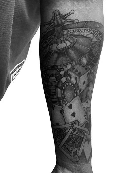 Awesome Black And Grey Ink Shaded Forearm Sleeve Poker Chip Tattoos For Men