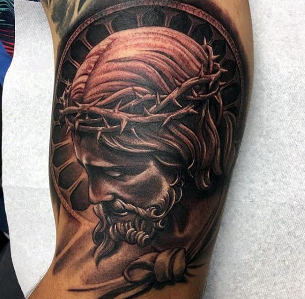 Awesome Black And Grey Male Jesus Arm Tattoo