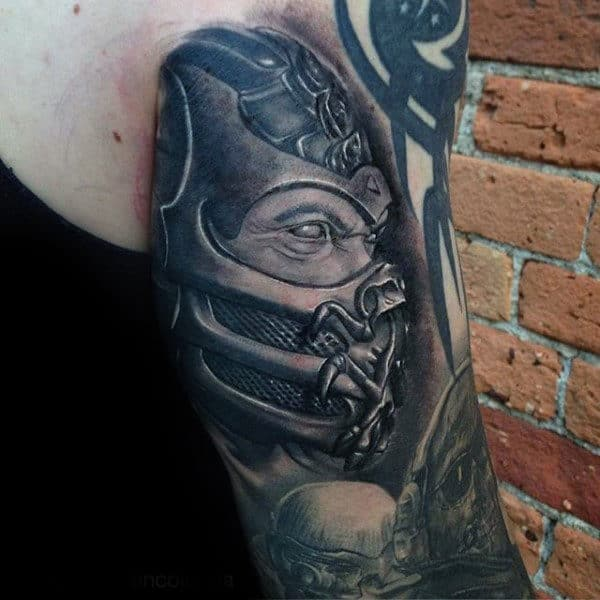 Awesome Black And Grey Shaded Mortal Kombat Back Of Arm Tattoos For Guys