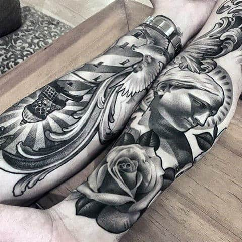 Awesome Black And Grey Tattoo Male Forearms