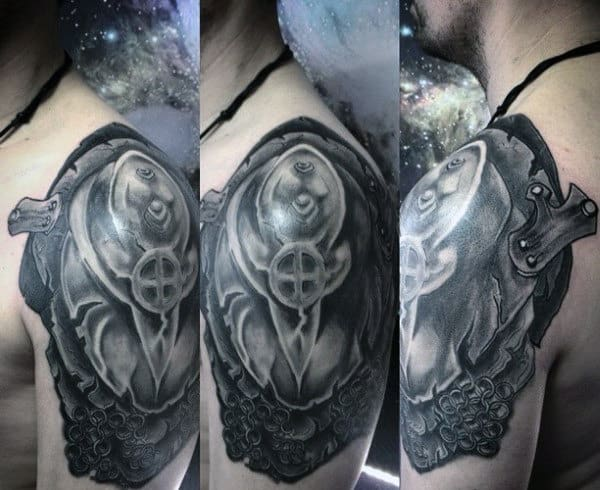 Awesome Black And White Tattoo Mens Shoulders