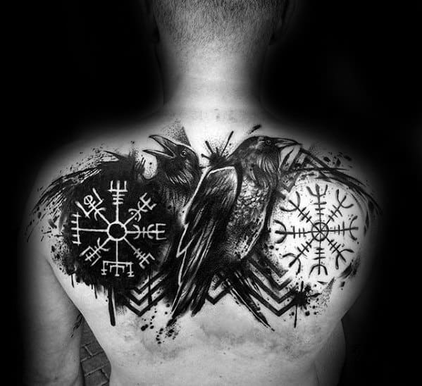 Awesome Black Crow Paint Splatter Viking Compass Mens Back Tattoos