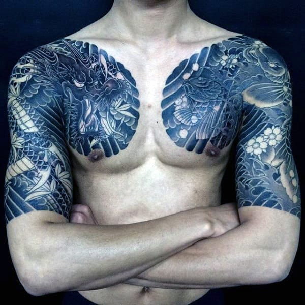 Awesome Black Dragon Tattoo Male Sleeves