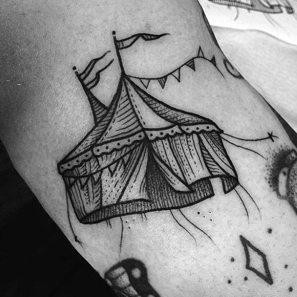 Awesome Black Ink Circus Tent Arm Tattoos For Men