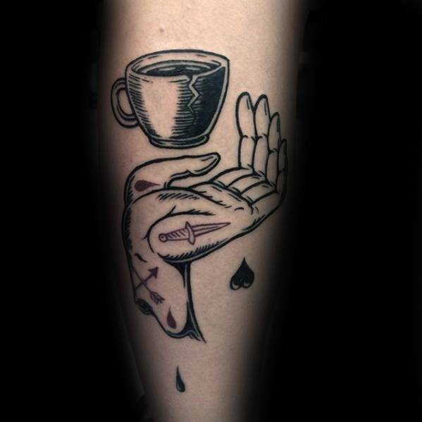 Awesome Black Ink Hand With Broken Coffee Cup Forearm Tattoos For Men