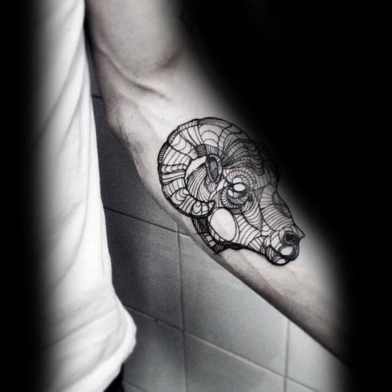 Awesome Black Ink Outline Aries Inner Forearm Mens Tattoos