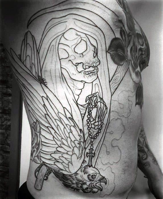 d845beb1a Awesome Black Ink Outline Grim Reaper Scythe Rib Cage Side Tattoos For Men