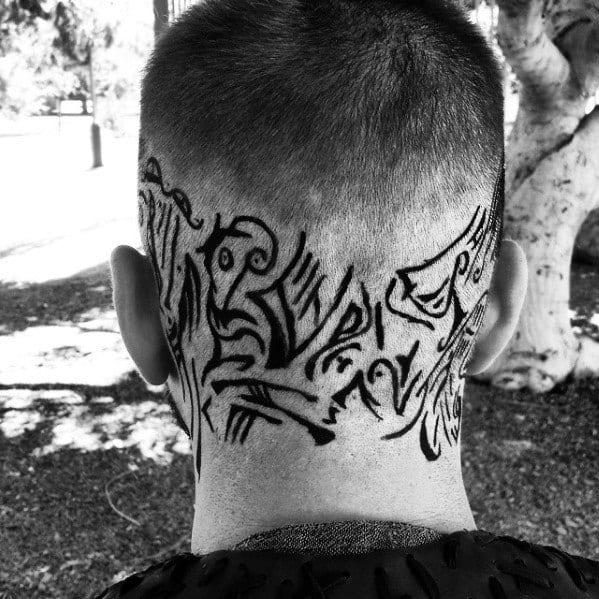 Awesome Black Ink Tribal Neck And Head Ragnar Tattoos For Men