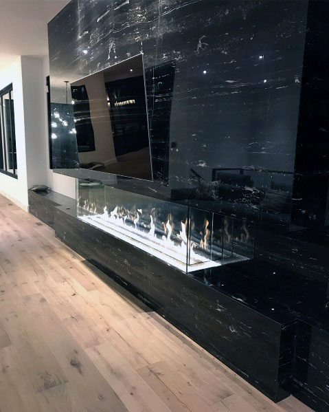 Awesome Black Marble Glass Gas Linear Fireplace Ideas