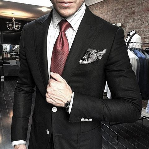 Awesome Black Suit Styles For Men With White Dress Shirt And Red Tie