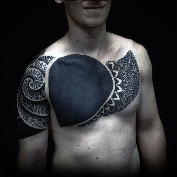 Awesome Blackwork Guys Pattern Geometric Cover Up Chest Tattoo Designs