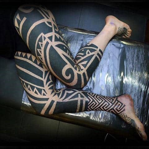 Awesome Blackwork Guys Pattern Tribal Leg Tattoos