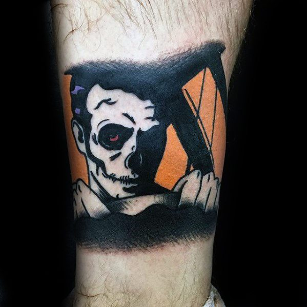 Awesome Blink 182 Lower Leg Tattoos For Men