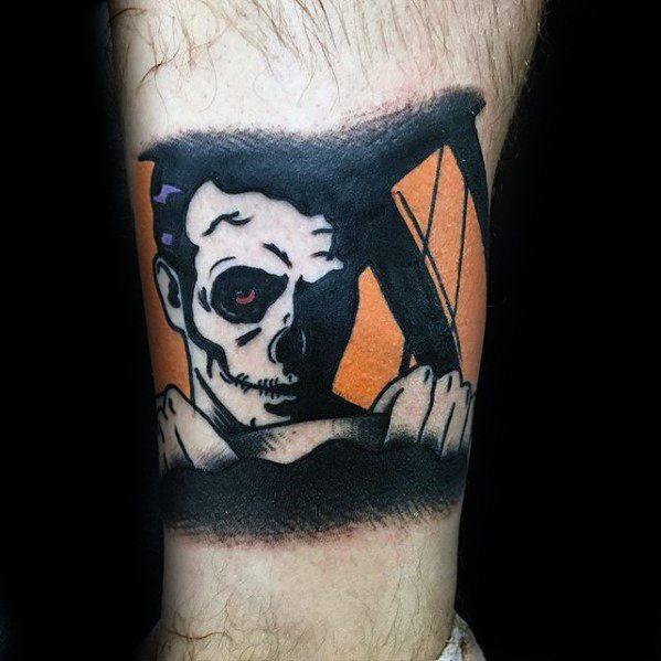 Awesome Blink 182 Lower Leg Tattoos For Men