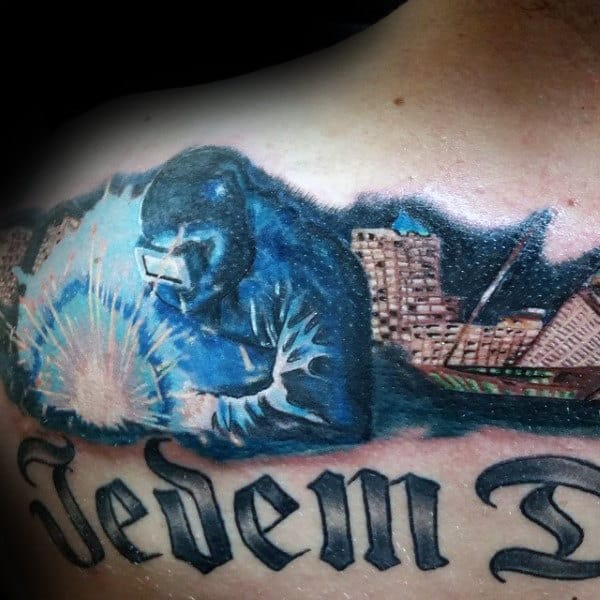 Awesome Blue Sparking Mens Welding Tattoos On Back