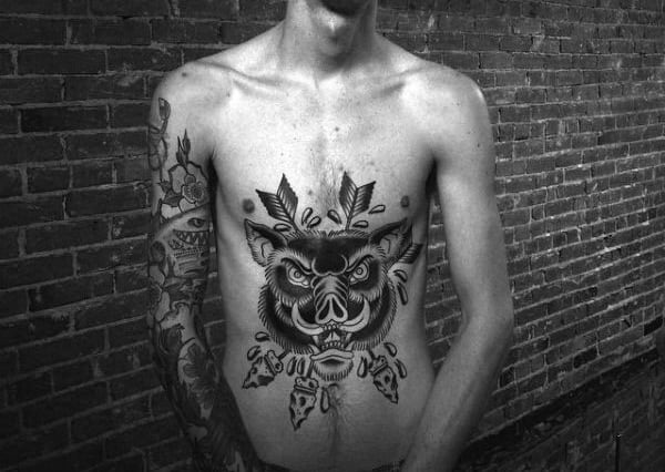 Awesome Boar Stomach Male Old School Tattoos