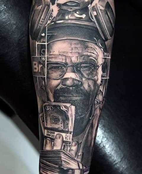 Awesome Breaking Bad Themed Sleeve Tattoo On Guy
