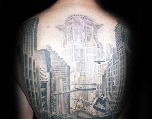 Awesome Building Mens Full Back Tattoo