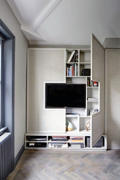 Awesome Built In Television Wall With Hidden Bookcase Shelves Ideas
