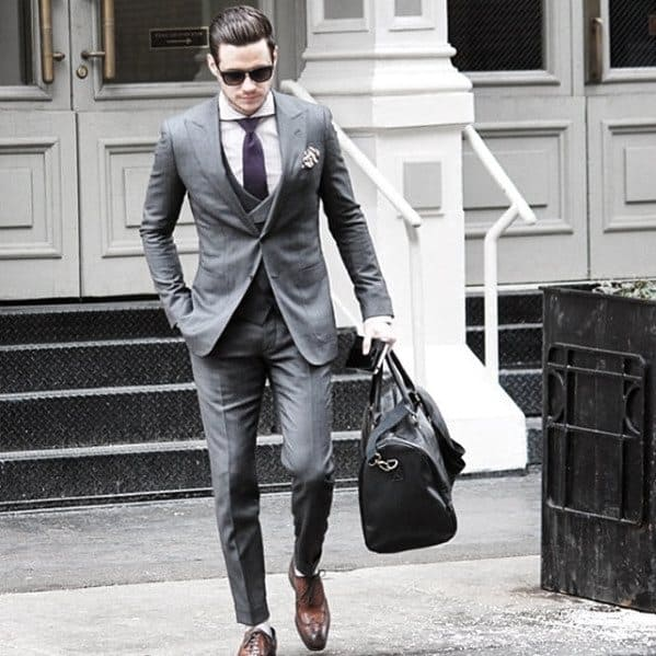Awesome Business Professional Charcoal Grey Suit Brown Shoes Styles For Men