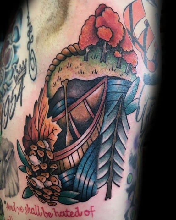Awesome Canoe Rib Cage Side Traditional Tattoos For Men