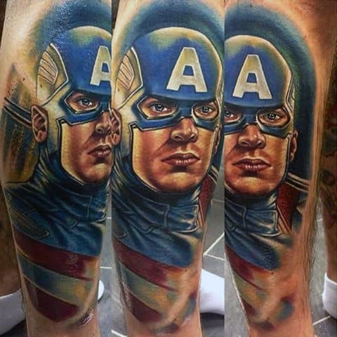 Awesome Captain America Leg Sleeve Mens Tattoo Ideas