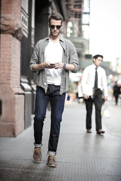 Awesome Casual Wear Styles For Men White T Shirt With Grey Shirt