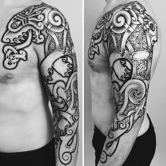 Awesome Celtic Wolf Tattoos For Men