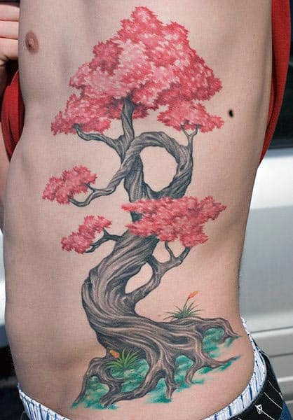 Awesome Cherry Red Flower Bonsai Tree Ribs Tattoo On Guy