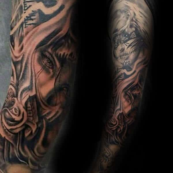 Awesome Chicano Male Tattoo Design Full Sleeve