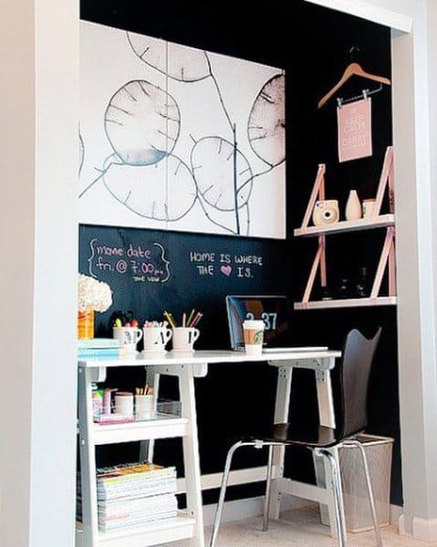 Awesome Closet Office Ideas With Chalkboard Wall