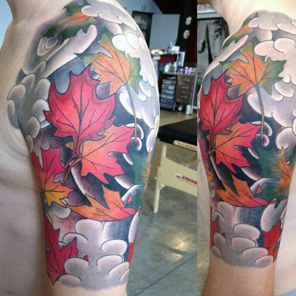 Awesome Clouds With Maple Leaves Mens Half Sleeve Tattoo Designs